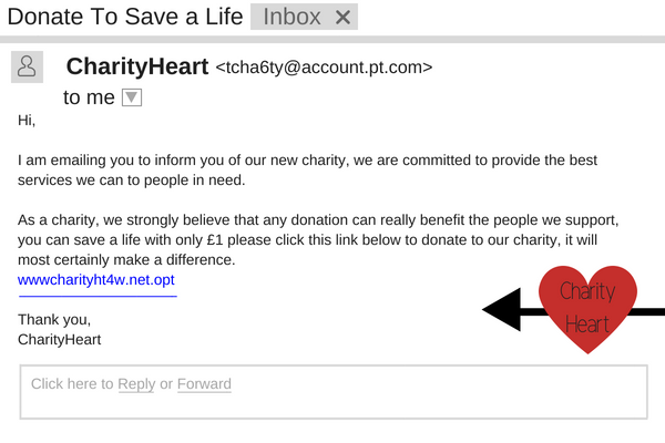 A fake charity email requesting the recipient to donate money.