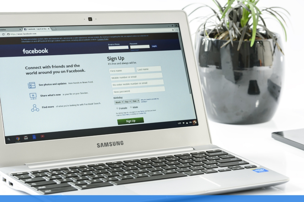 facebook login page on a laptop