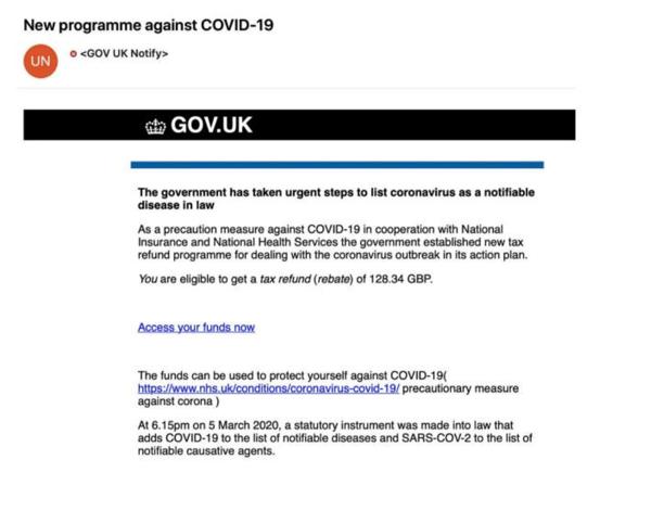 coronavirus phishing email example