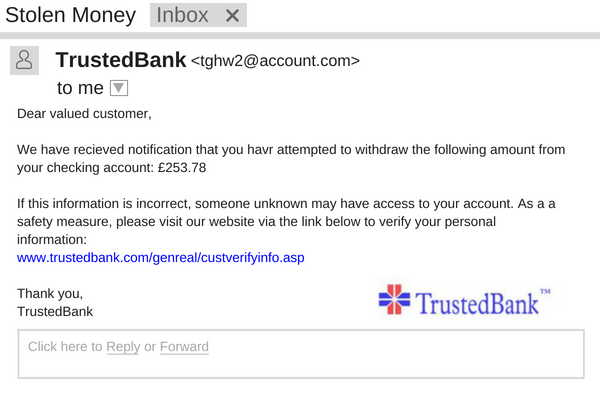 Deceptive Phishing attack appearing from a legitimate bank.