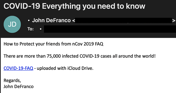 example of fake covid-19 phishing rmail