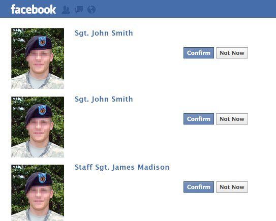 An image of 3 fake Facebook profiles.