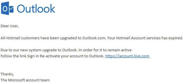 Email account upgrade phishing scam