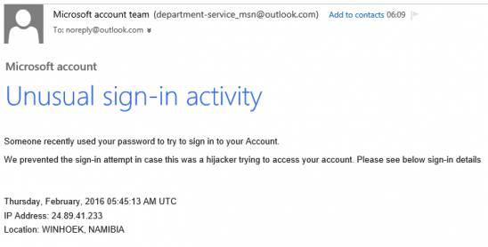 Unusual activity phishing scam